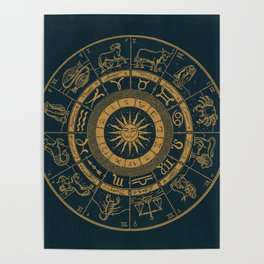 Vintage Zodiac & Astrology Chart   Royal Blue & Gold Poster