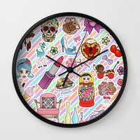 stickers Wall Clocks featuring I Love Stickers by Jade Boylan