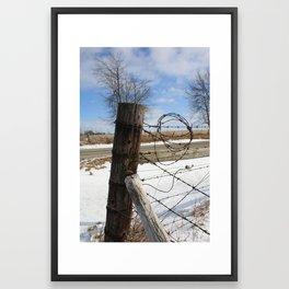 Winter Fence Post Framed Art Print