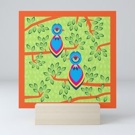 Tropical birds on trees Mini Art Print