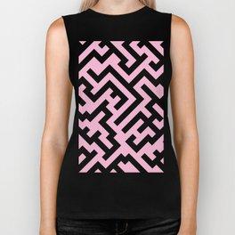 Black and Cotton Candy Pink Diagonal Labyrinth Biker Tank