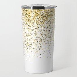 Gold Confetti Metallic Print Travel Mug