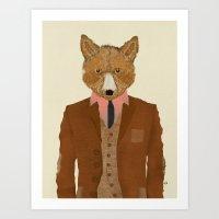 mr fox Art Prints featuring mr fox by bri.b