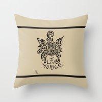 yorkie Throw Pillows featuring LOVE YORKIE by Elisa Daniele