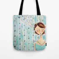 fawn Tote Bags featuring Fawn by Allison Weeks Thomas
