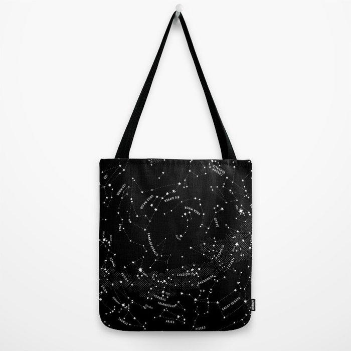 Constellation Map - Black Tote Bag