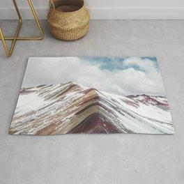Snow-capped Rainbow Mountain (Montaña de Siete Colores) in the Andes mountains, Peru Rug