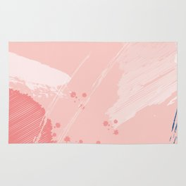 Kisses: a pretty abstract mixed media piece in pink and blue Rug