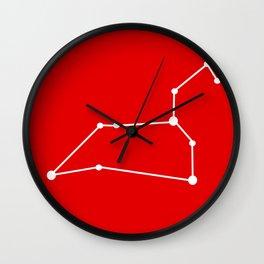 Leo (White & Red) Wall Clock