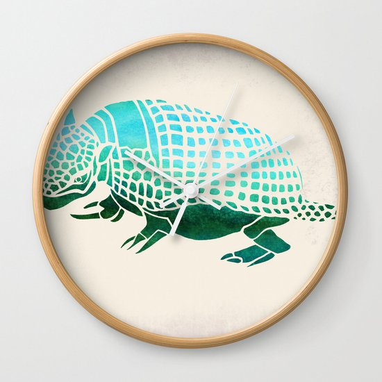 Watercolor Armadillo Wall Clock