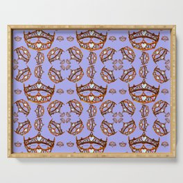 Queen of Hearts gold crowns tiaras repeat pattern on periwinkle background by Kristie Hubler Serving Tray