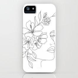 Minimal Line Art Woman Face II iPhone Case