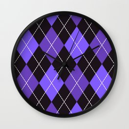 Dashed diamond check purple & black for Halloween Wall Clock