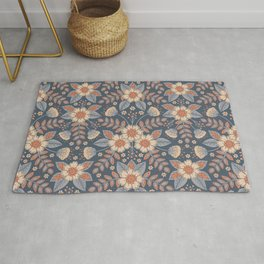 Slate Blue, Cream & Peach Floral Pattern - Pastel Flowers & Leaves Rug
