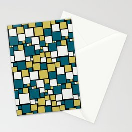 Off White, Dark Yellow and Tropical Dark Teal Inspired by Sherwin Williams 2020 Trending Color Oceanside SW6496 Funky Mosaic Pattern on Black Stationery Cards
