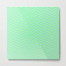Green and Blue Chevron Pattern Metal Print