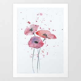 Red poppy flowers watercolor painting Art Print
