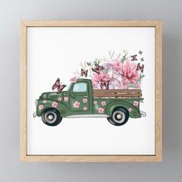 Spring Truck With Flowers Framed Mini Art Print