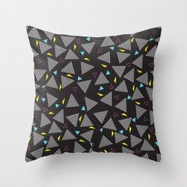 Retro Vintage 80s Pattern Dark Throw Pillow