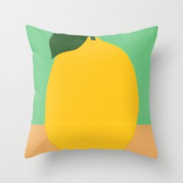 Lemon With Two Leaves Throw Pillow