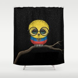 Baby Owl with Glasses and Ecuadorian Flag Shower Curtain