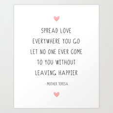 Mother Teresa Love Quote Inspirational Motivational Art Print