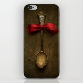 Red bow and ornamented spoon iPhone Skin