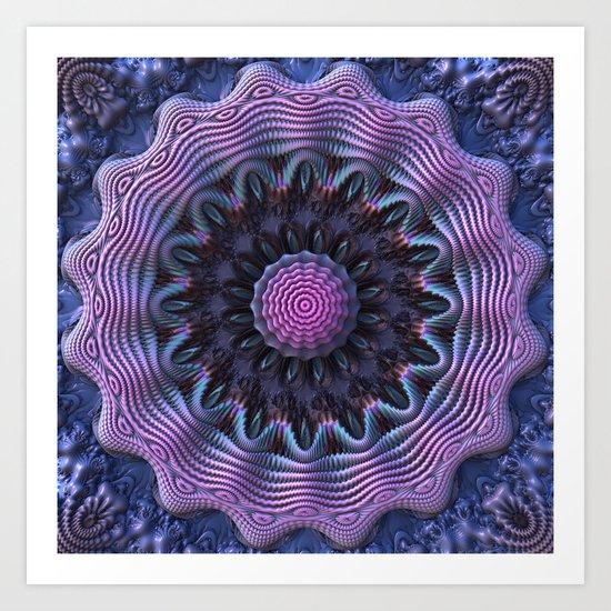 Purple/Blue 3D Fractal Mandala Art Print