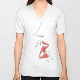 One-Line Kiss Unisex V-Neck