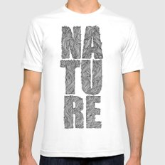 NATURE White Mens Fitted Tee MEDIUM