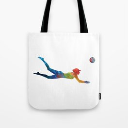 Woman beach volley ball player 01 in watercolor Tote Bag