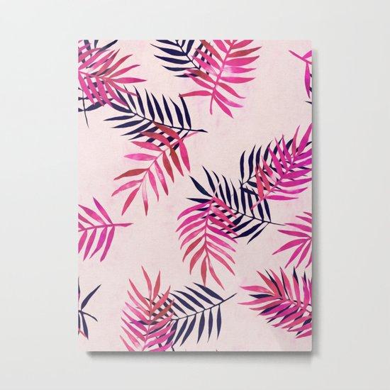 Pink Palm Pattern Metal Print