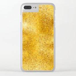 Pixillated Gold Foil Clear iPhone Case