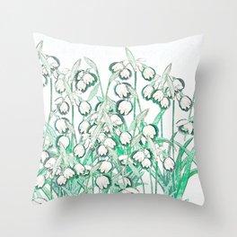 Snowdrop Spring II Throw Pillow