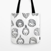 girls Tote Bags featuring Girls by Young Ju