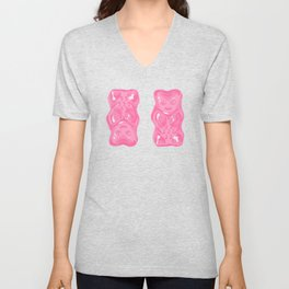 Jelly Beans & Gummy Bears Pattern - Pink and Black Unisex V-Neck