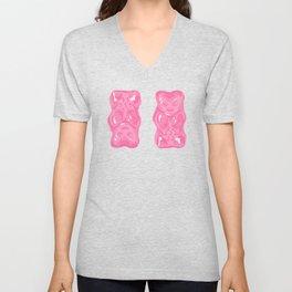 Jelly Beans & Gummy Bears Pattern - Pink and Black Unisex V-Neck