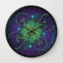 Glowing Blue-Green Fractal Lotus Lily Pad Pond Wall Clock