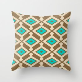 Tribal Ikat Pattern, Beige, Taupe and Turquoise Throw Pillow