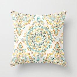 Retro Spring Folk Art Diamonds Throw Pillow