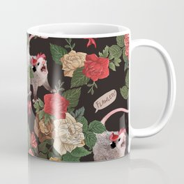 Opossum Floral Pattern (with text) Coffee Mug