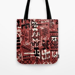 Ethnic Style Sketch black,white on red clay ex large Tote Bag