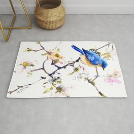 Bluebird and Dogwood, bird and flowers spring colors spring bird songbird design Rug