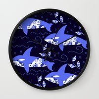 killer whale Wall Clocks featuring Killer whale pattern by luizavictoryaPatterns