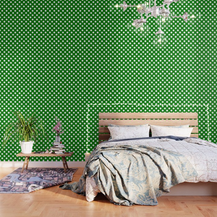 Green (HTML/CSS Color)   Green   White Polka Dots   Pois Pattern Wallpaper