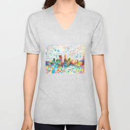 indianapolis city skyline watercolor 6 Unisex V-Neck