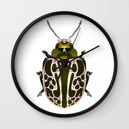 Green, White, Pink Beetle Wall Clock