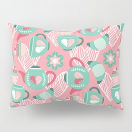 Abstract mauve pink green white sweet pattern Pillow Sham