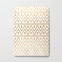 White & Gold Chevron Pattern Metal Print