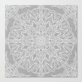 White Mandala on Grey Linen Canvas Print